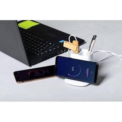 Ładowarka bezprzewodowa 5W, hub USB 2.0, pojemnik na przybory do pisania, stojak na telefon
