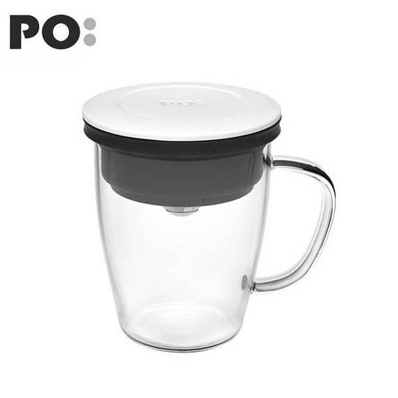 Szklanka z zaparzaczem PO: Duo, biało-czarny